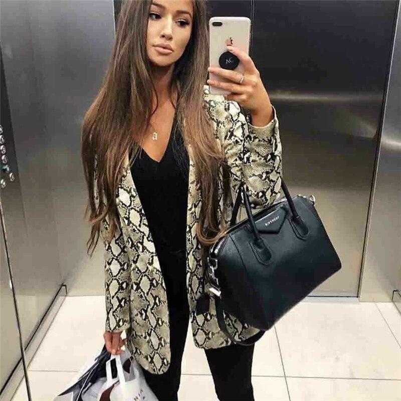 2019 Fashion Women Ladies Snakeskin Long Sleeve Suit Cardigan Coat Blazer Office Jacket Warm Overall Suit Robe Femme Streetwear