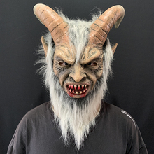 Cosplay Mask Horn Latex Scary Demon Halloween Costume Party-Props Lucifer White Adults