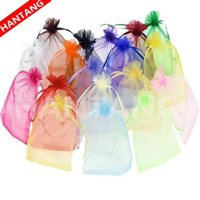 50pcs 7x9 9x12 10x15 13x18CM Organza Gift Bags Jewelry Packaging Bag Wedding Party Decoration Drawable Bag Gift Pouches White 5z