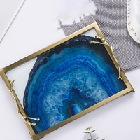 European Blue Agate Stone Pattern Rectangular Tray Decoration Home Living Room Coffee Table Storage Bed Decorations