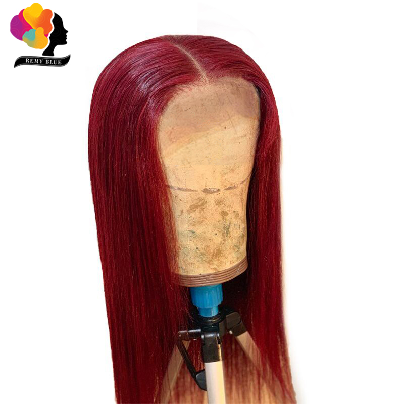 Remyblue 99J Red Burgundy Lace Front Human Hair Wigs For Black 13*4 Straight Lace Front Wig Ombre Peruvian Remy Human Hair Wigs