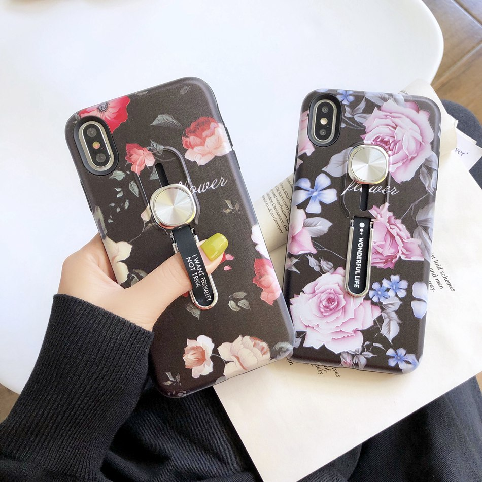 Axbety For iPhone 11 X XR XS MAX 7 8 Plus 6 6s Plus <font><b>Case</b></font> Luxury Flower Hide <font><b>Loop</b></font> Stand <font><b>Phone</b></font> <font><b>Cases</b></font> 2 In 1 Adsorption Hard Cover image