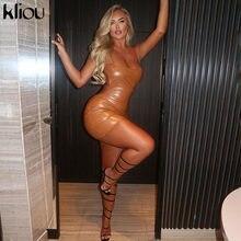 Mini abiti fasciatura senza schienale con cinturino in ecopelle Kliou PU per abiti da festa per donna Sexy Skinny Spaghetti Hot Bodycon Clubwear