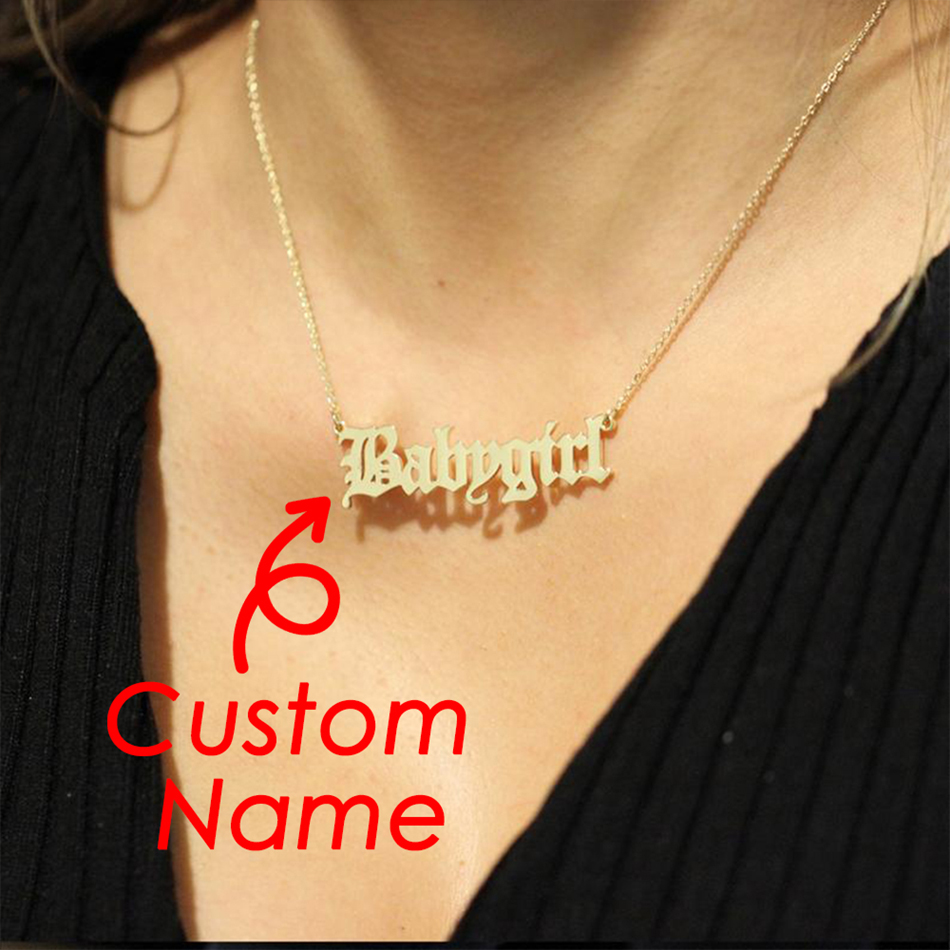 JUJIE Customize Name Necklace For Women 2020 Stainless Steel Best Friend Necklaces Personalized Word Necklace Jewelry