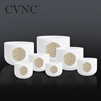 CVNC 6 12 Set of 7pcs Frosted Quartz Crystal Singing Bowl with Flower of life