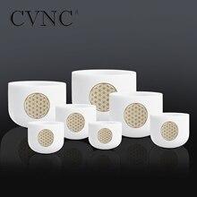 CVNC 6-12 Set of 7pcs  Frosted Quartz Crystal Singing Bowl with Flower life