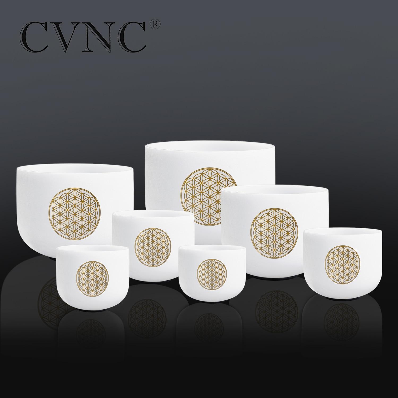 CVNC juego de 6-12 de 7 piezas de cristal de cuarzo esmerilado con flor de la vida