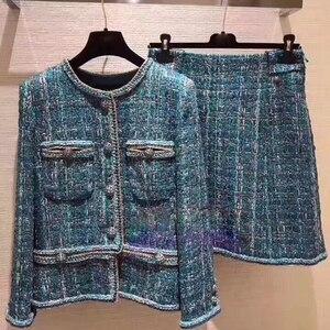 Женская твидовая куртка, потрясающее зимнее пальто размера плюс, abrigos mujer и conjuntos de mujer 5xl 6xl, casaco feminino, юбка, комплект из 2 предметов