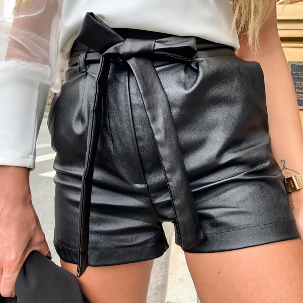 Women Leather Shorts England Style Bownot Shorts Mujer Casual Loose PU Leather Black Shorts Feminino Sexy Streetwear D30