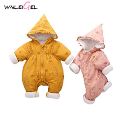 WLG new born baby girl winter thick romper cute toddler girl solid hooded rompers kids winter warm cotton outwear clothes