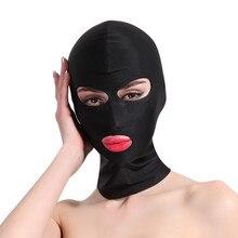 Сексуальное белье с мягким капюшоном, маска для фетиша, БДСМ, бондаж, ролевые игры, косплей, игры для взрослых, повязка на глаза, открытие рта,...