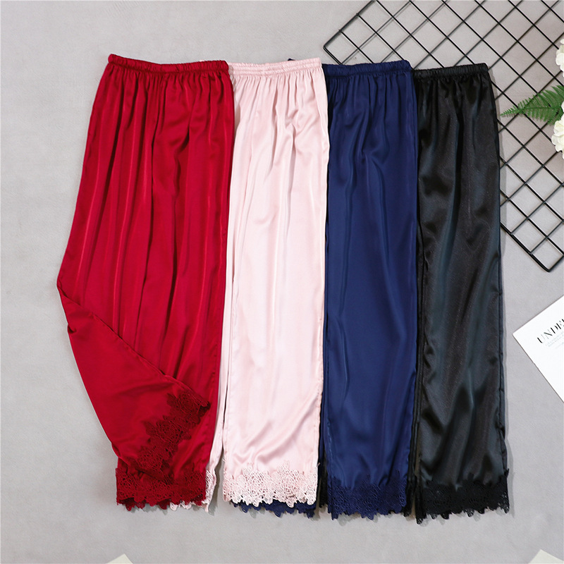 Summer Spun Silk Pajamas Women's Spring And Autumn Casual Viscose Trousers Silk Band Lace Home Pants