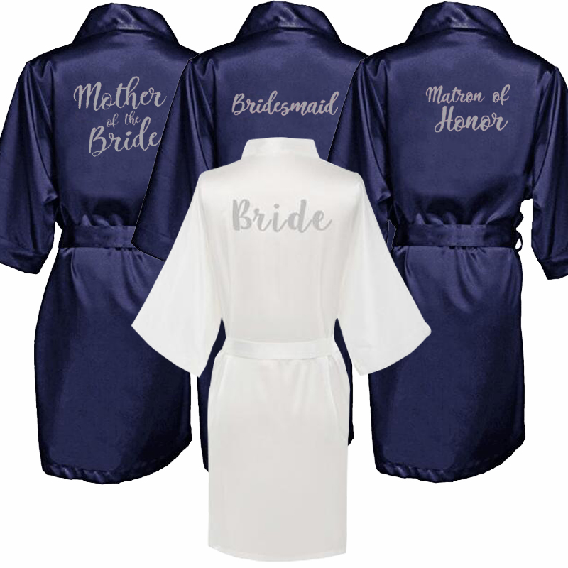 Navy Blue Robe Silver Letter Kimono Satin Pajamas Wedding Robe Bridesmaid Sister Mother Of The Bride Robes