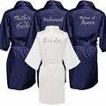 Темно-синий халат, Серебряное кимоно с надписью, атласная пижама, Свадебный халат, женский халат для матери невесты