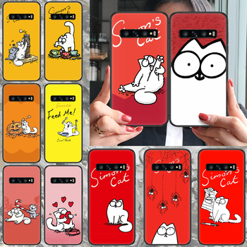 cartoon Simons cat Phone case For Samsung Galaxy S 10 20 3 4 5 6 7 8 9 Plus E Lite Uitra black cell cover 3D coque luxury Etui image