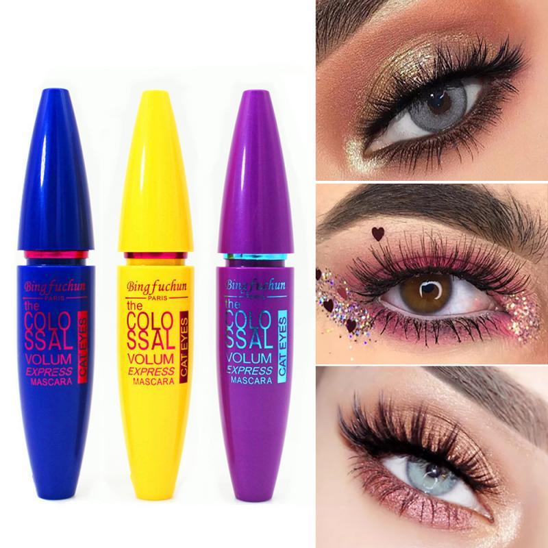 Bingfuchun Black Mascara False Eyelashes Colossal Volume Curling Waterproof Rocket Magnum False Lash Mascara Eyes Makeup TSLM1