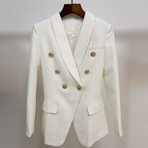 Image 5 - Yüksek kalite yeni moda 2020 tasarımcı Blazer kadın uzun kollu kruvaze Metal düğmeler uzun Blazer dış ceket