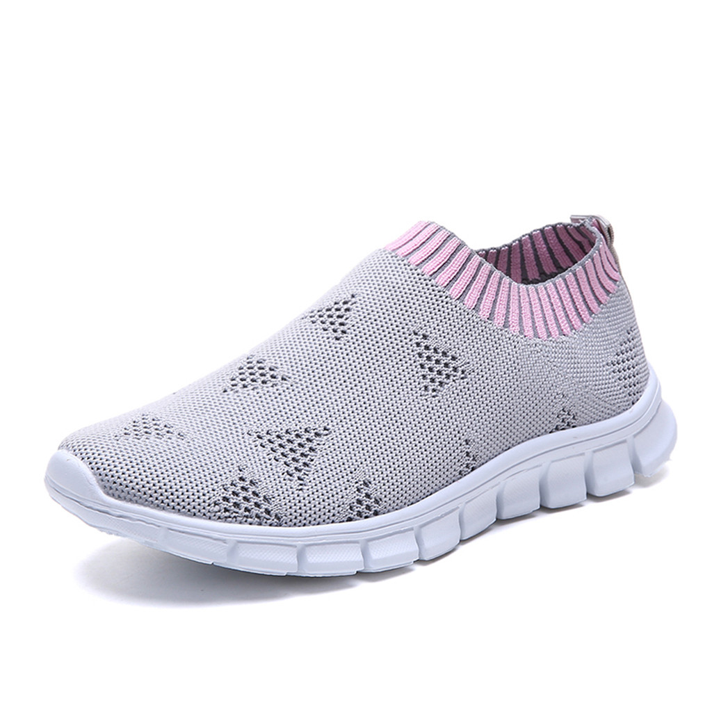 Women's Mesh Flat Shoes Patchwork Slip-on Casual Shoes For Woman Walking Stripe Sneakers