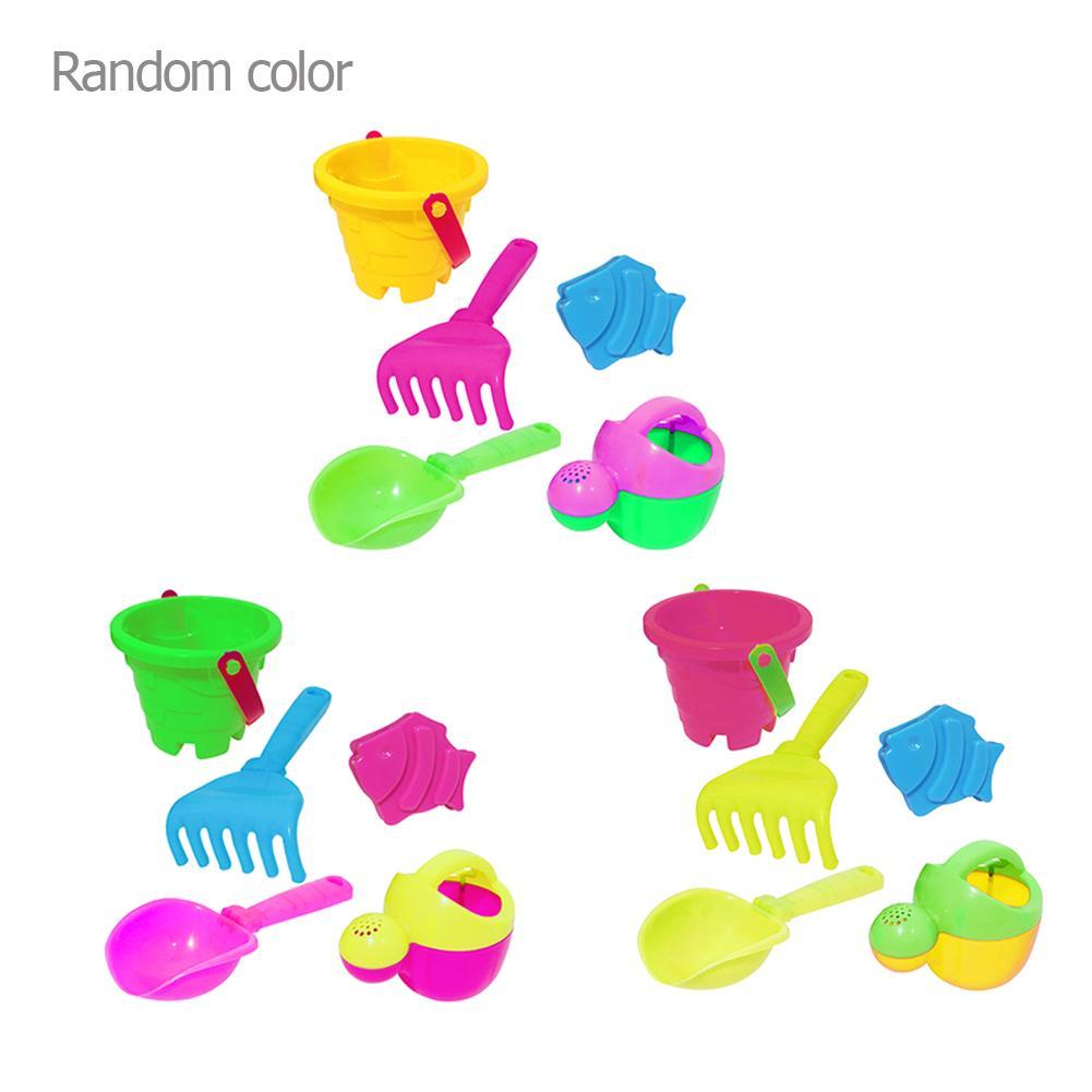 5pcs/set Kids Beach Sand Water Play Toys Bucket Spade Shovel Rake Set Gifts Kids Mesh Bag Bath Play Set