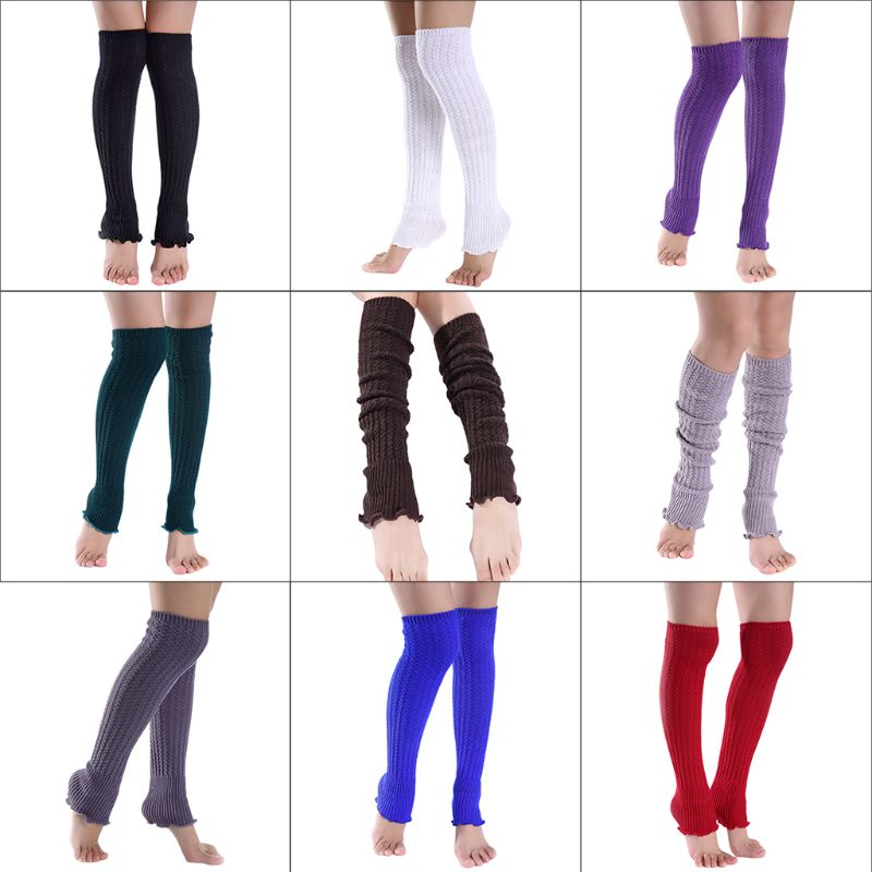 Women Girls Winter Over Knee High Footless Boot Socks Solid Color Agaric Ruffles Hem Cable Knitted Non-Slip Long Leg Warmers
