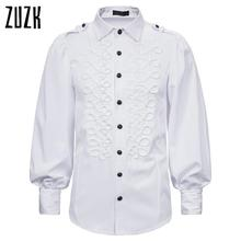 White Shirts Victorian Military-Tops Slim-Fit Long-Sleeve Men Vintage New Punk-Style