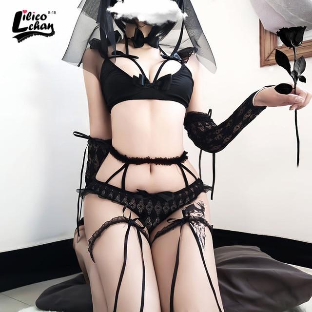Lilicochan 신부 코스프레 화이트 블랙 유니폼 섹시 란제리 여자 메이드 유혹 신부 란제리 귀여운 레이스 웨딩 의상
