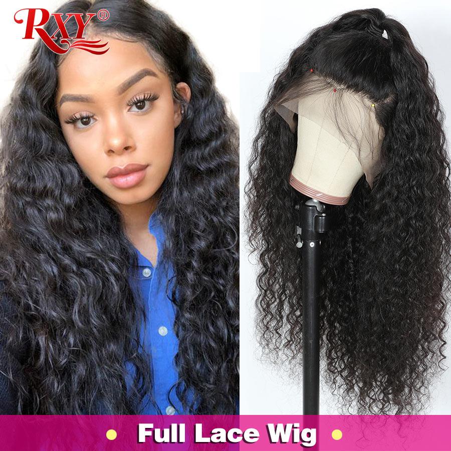 RXY brasileño de la onda profunda peluca Pre arrancado de encaje completo pelucas de cabello humano pelucas de encaje para las mujeres rizado Peluca de cabello humano Remy