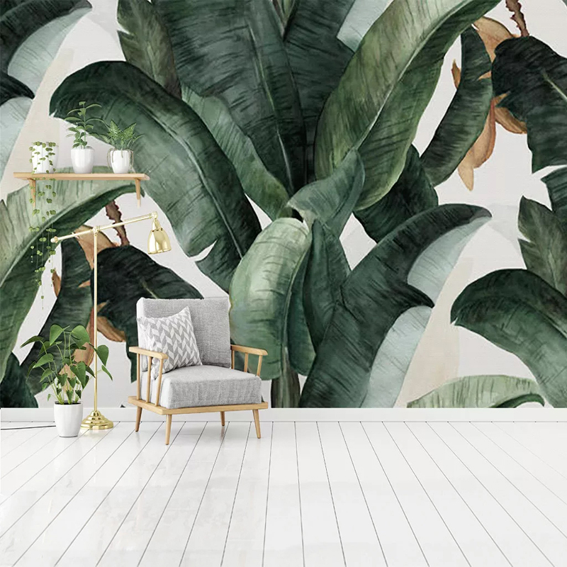 Custom 3D Photo Wallpaper Home Decor Retro Nostalgic Pastoral Hand Painted Banana Leaves Large Mural Living Room Wall Decoration