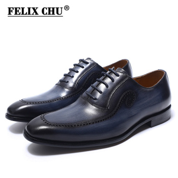 FELIX CHU Brand Italian Hand Painted Oxfords Shoes For Men Dress Shoes Genuine Leather Office Male Formal Wedding Mens Shoes