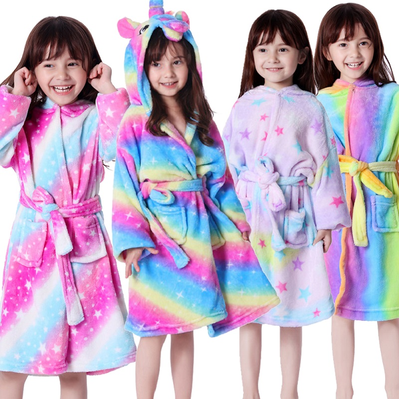 Soft Flannel Unicorn Pajamas Sleepwear Kids Rainbow Unicorn Hooded Bathrobe