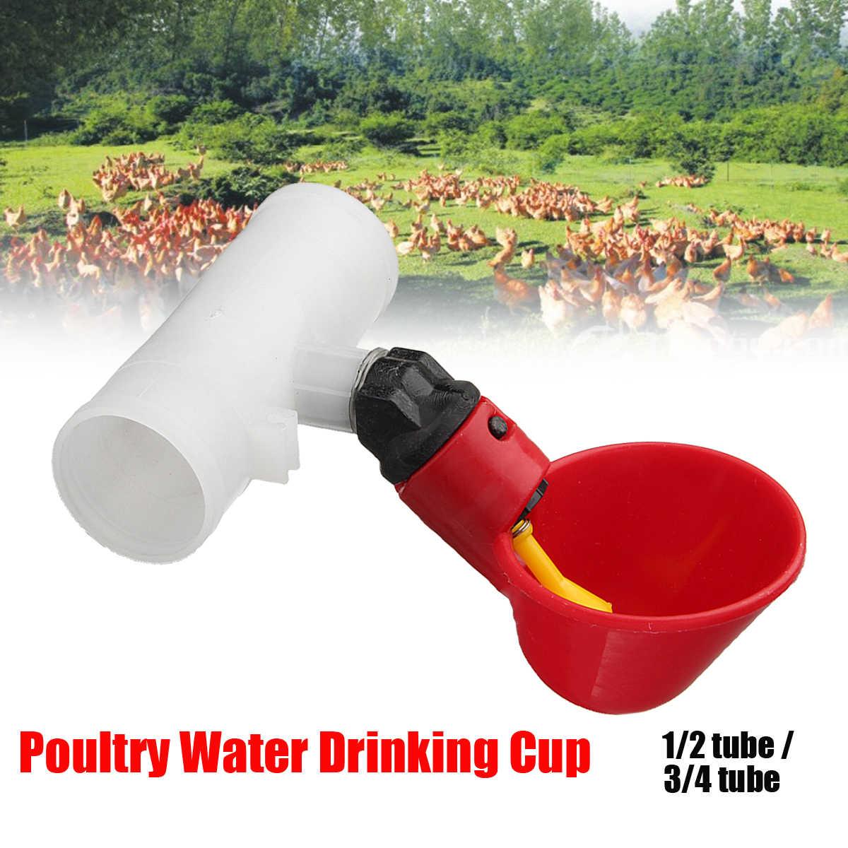 4/' Poultry Water Drinking Tube Plastic Automatically Drinker Chicken Bird Feeder