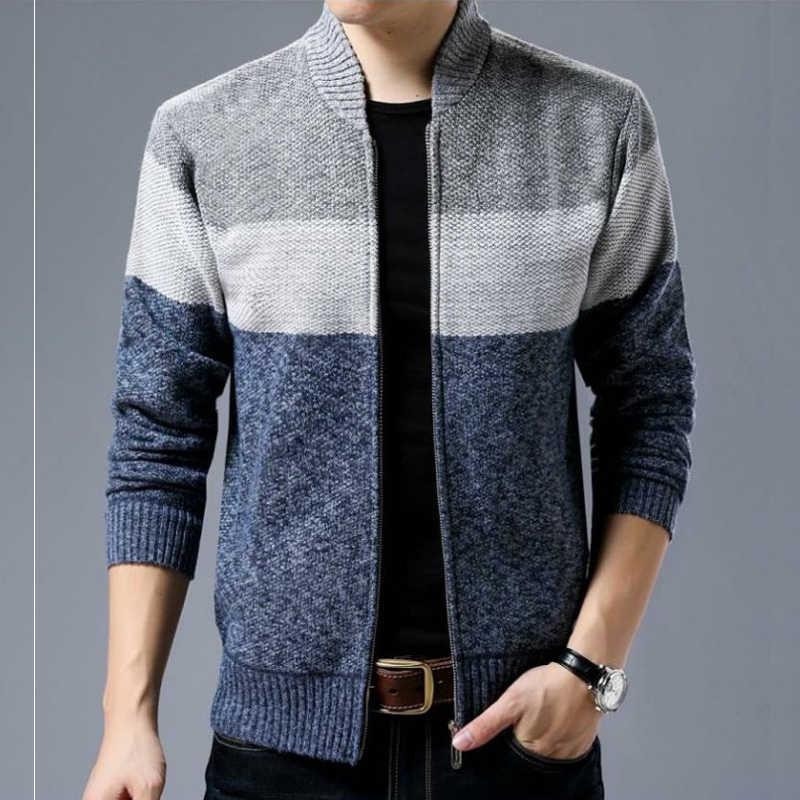 新ファッションジャケット男性カジュアルマンダリン襟メンズコート勾配パッチワークニットジッパーメンズジャケットブランド服