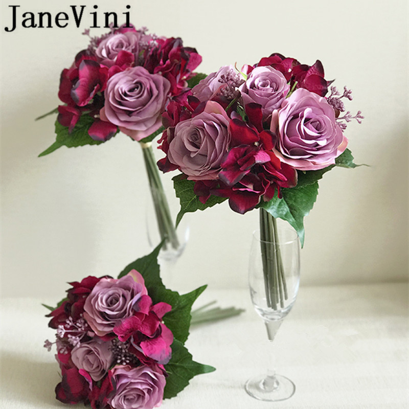 JaneVini Fuchsia Bridesmaid Bouquet Dusty Pink Rose Flower Girl Bouquet Vintage Artificial Small Flowers for Brides' Sisters