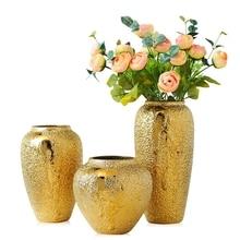 Gold vase home living room TV cabinet wine cabinet decoration ornaments soft art ceramic gold-plated vase Ceramic vase