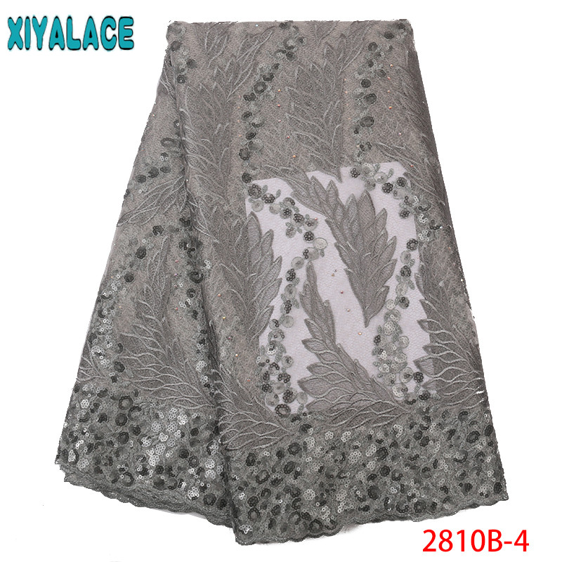 Latest French Nigerian Lace Fabrics High Quality Nigerian Party Lace Fabric 2019 Embroidered Mesh Lace With Sequences KS2810B-4