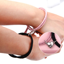 Bracelet Rope Jewelry Braided Couple Matching Magnetic Minimalist Heart-Lovers 2pcs