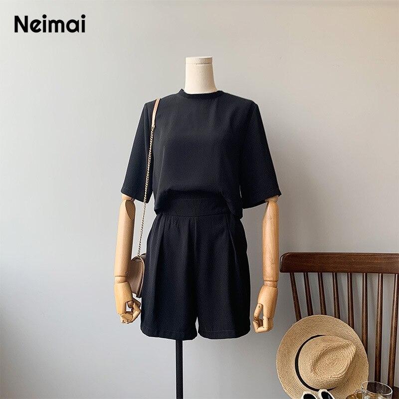 Neimai Satin combinaison courte noir Style coréen femmes Enterizos Para Mujer Largos Modis Elegantes mode Nova femme été corps