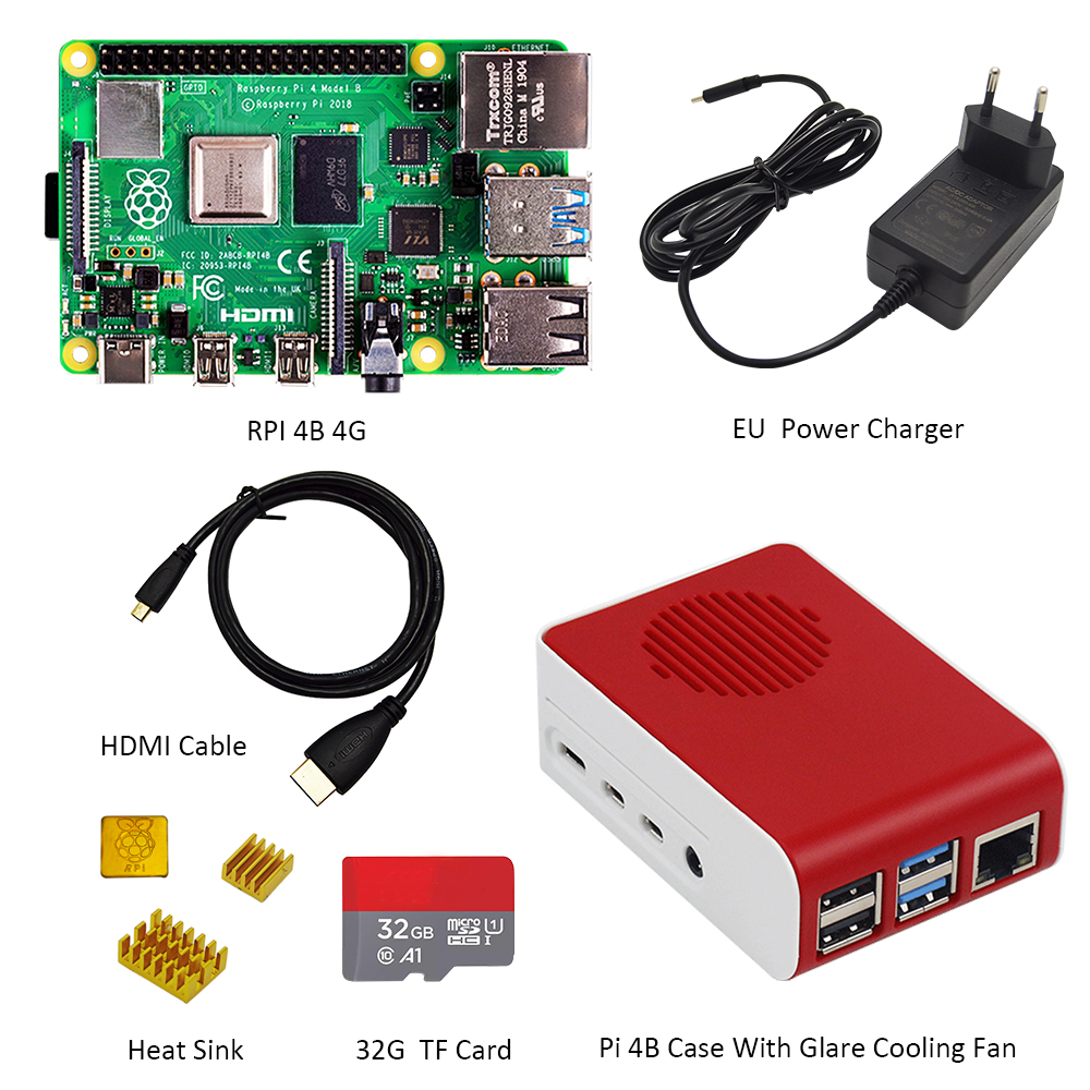 Original Raspberry Pi4 Model B Kit 4GB RAM + case with fan +EU/US/UK Type C 5V/3A Power charger+HDMI cable+32G TF card+ heatsink - 2