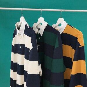 Image 3 - Мужской Хлопковый пуловер, Повседневная Свободная Толстовка с длинным рукавом и принтом в полоску, 3 цвета, 2019