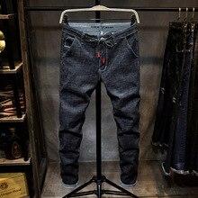 กางเกงยีนส์ผู้ชาย Skinny ล้างสบายๆสีดำฤดูใบไม้ผลิฤดูร้อน DENIM Jean Slim Retro ตรงชายคุณภาพสูง