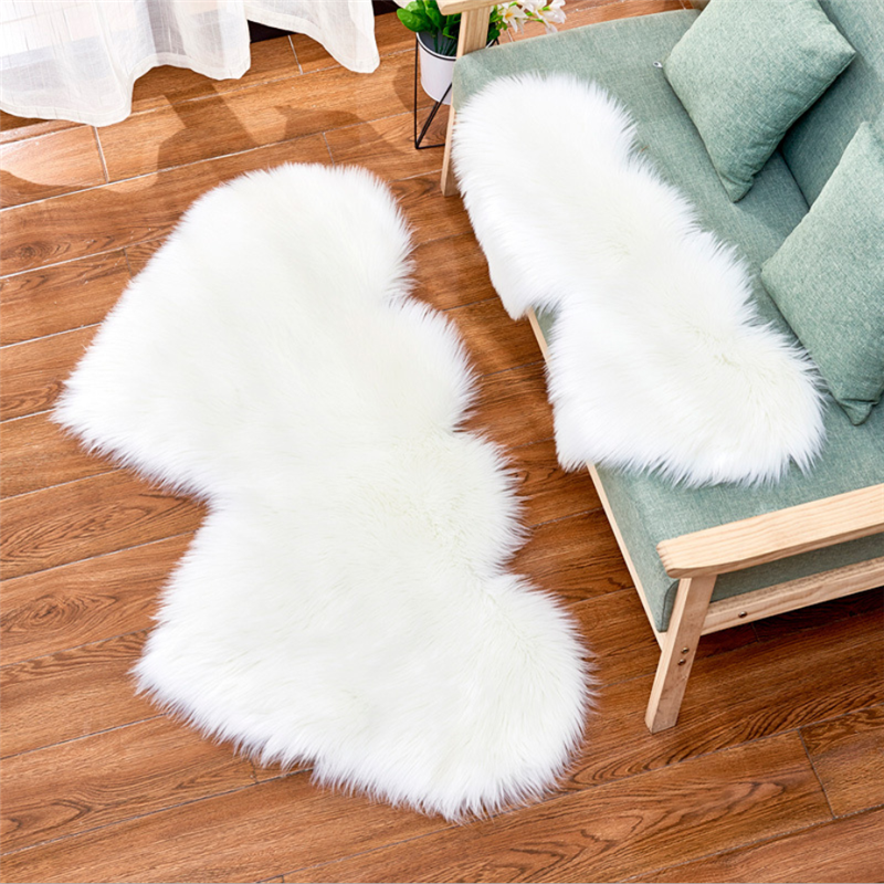 White Artificial Wool Living Room Bedroom Soft Floor Mat Shaggy Anti-skid Carpet Double Heart Shape Long Hairy Fluffy Rugs A008B