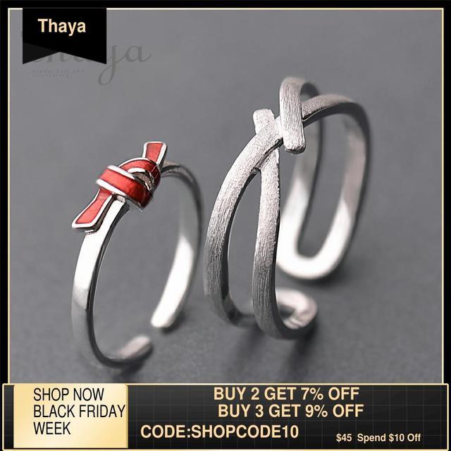 Thaya bague s925 en argent, anneau avec nœud rouge, anneau de saint valentin, robe boho, bijoux coréens, cadeau amoureux pour femmes
