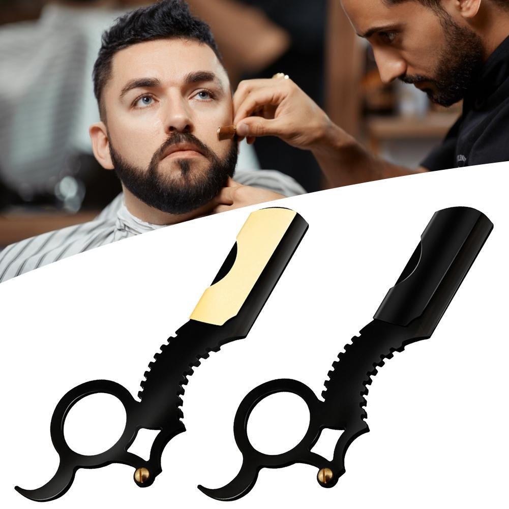 Professional Straight Edge Barber Razor Classic Travel Home Barber Razor Beard Shaving 4 Colors Thumb Stainless Steel Razor 40p