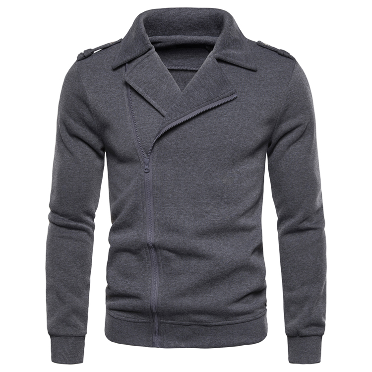 NEGIZBER New Autumn Casual Men's Jacket Fashion Lapel Solid Color Shirt Solid Color Zipper Long-sleeved Jacket Men