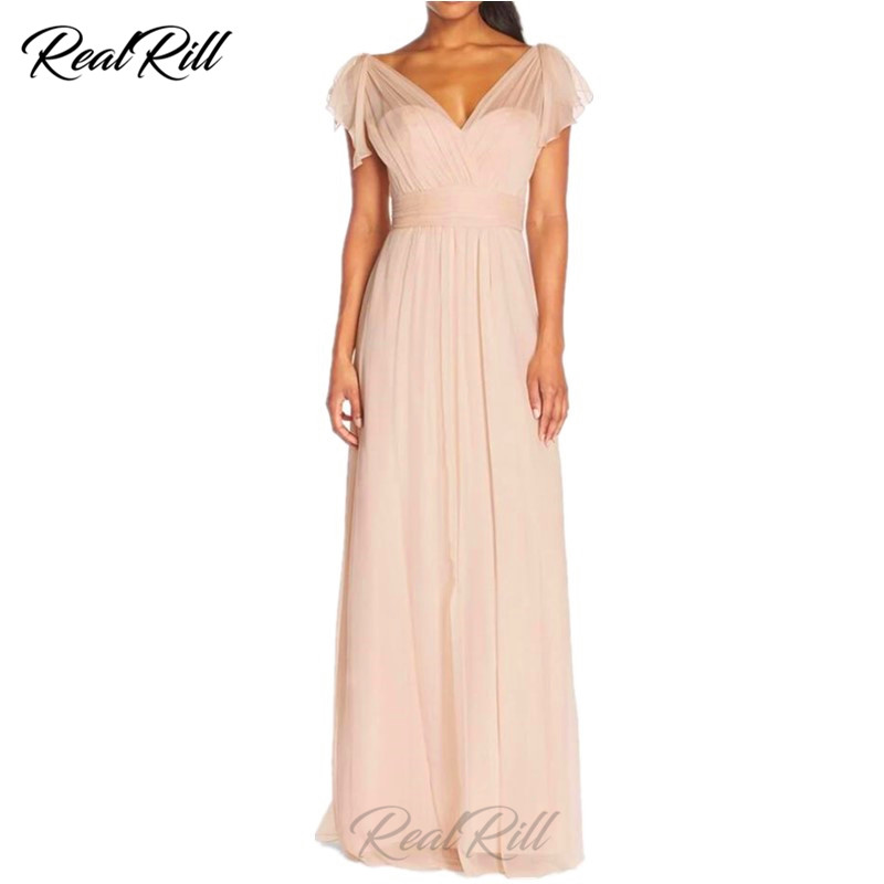 Real Rill Illusion V Neck   Bridesmaid     Dresses   Chiffon Zipper Up Back Floor Length A Line Wedding Party   Dress   Formal   Dresses
