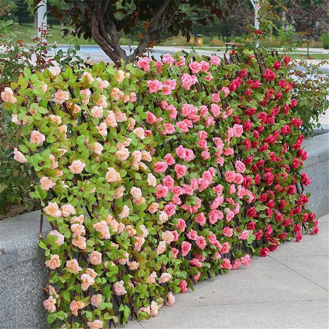 Fence Garden Screening Trellis Privacy Screen Indoor Artificial Flower Leaves