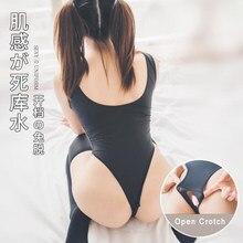 Ensemble de Lingerie érotique japonaise, sous-vêtements, jupe, uniforme fantaisie avec chaussettes, corps transparent, entrejambe ouvert