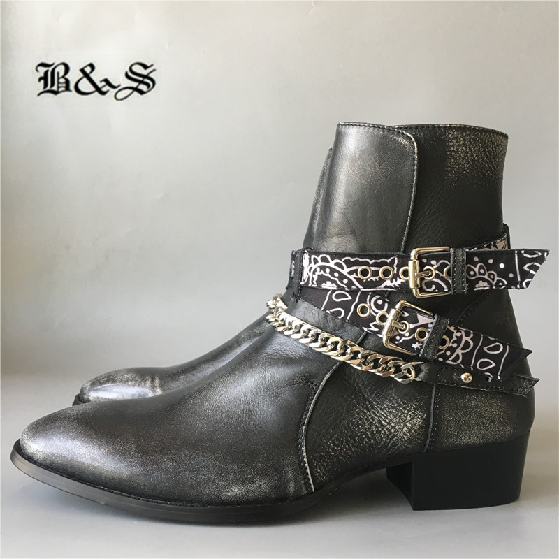 Handmade High End Scarf With Chain Buckle Strap Men Genuine Leather Boots Vintage Do Old Personalized Men Wedge Botas
