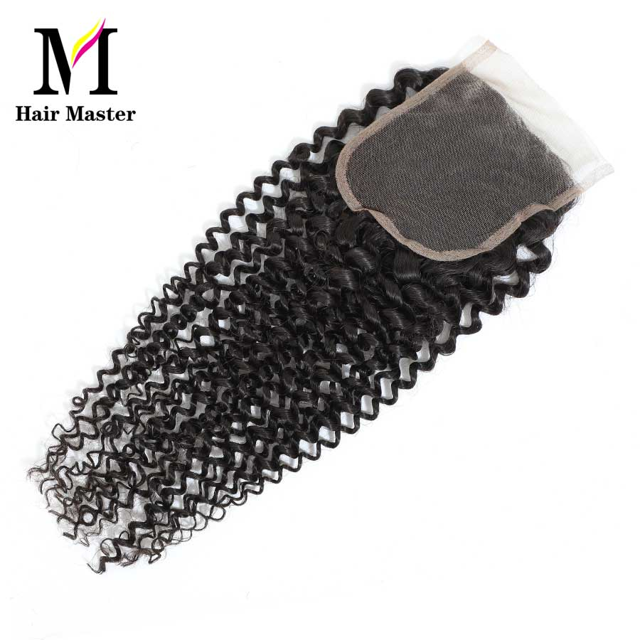 Image 2 - Hair Master Brazilian Curly Wave Closure Remy Human Hair Closure 4x4 Nature Color Lace Closure Curly Closure Free Shipping-in Closures from Hair Extensions & Wigs