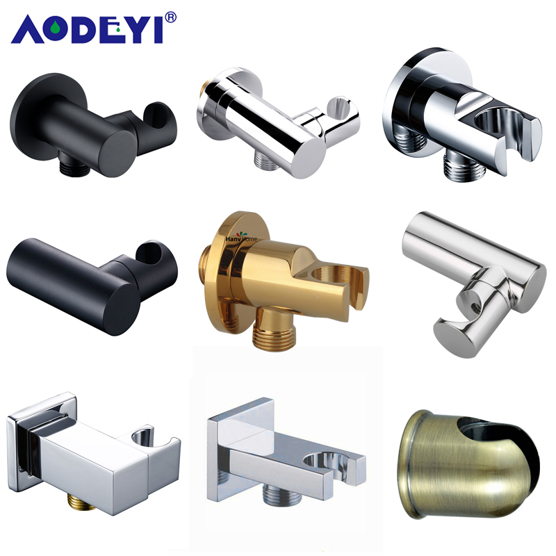 Brass Wall Mounted Hand Held Shower Holder Shower Bracket  amp  Hose Connector Wall Elbow Unit Spout Water Inlet Angle Valve
